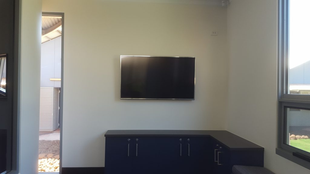 "Broome Residential College Stage 2 upgrade, wall mounted TV & Public address system with EV Microphone and 8"" roof speakers"