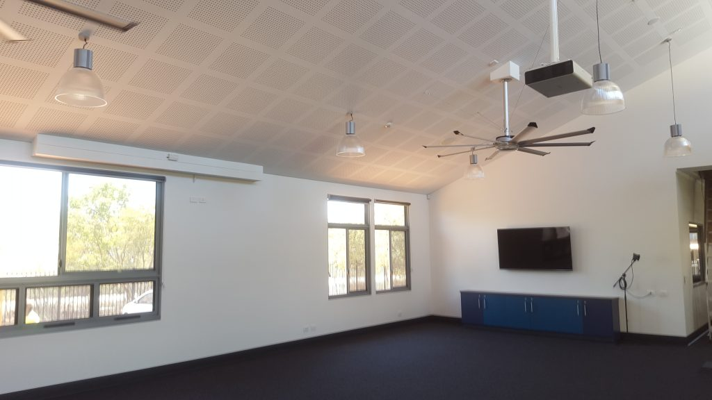 "Broome Residential College Stage 2 upgrade, wall mounted TV & Public address system with EV Microphone and 8"" roof speakers, Panasonic Projector"