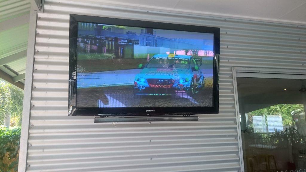 Outside TV with Soundbar